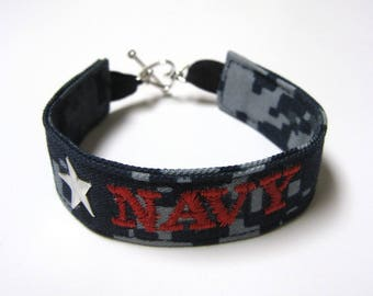 Navy Name Tape Military Bracelet, Navy Camo Bracelet, Custom Navy Jewelry, Navy Gifts