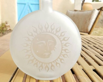 Decorative Sun and Moon Glass Bottle, etched glass, sandblasted glass