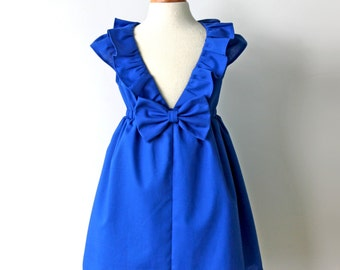 Dazzling Lapis Blue Dress, Toddler & Girl, Special Occasion, Birthday and Flower Girl