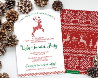Ugly Sweater Christmas Party Invitation .  Ugly Sweater Party - Christmas Party - Christmas Invitation - 2-sided Design on premium cardstock