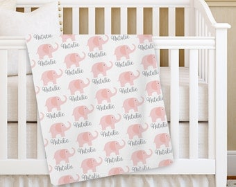 Personalized Baby Blanket, pink Elephant Baby blanket, Custom Receiving Blanket, Baby Crib Blanket, Swaddling Blanket, Baby Shower Gift