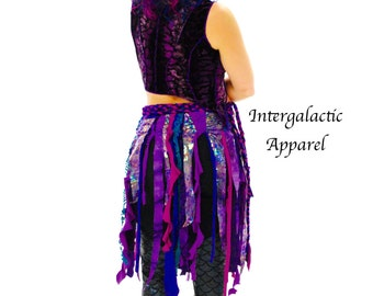 Tattered Wrap Skirt, Gypsy Wrap Skirt, Boho festival skirt, Intergalactic Apparel