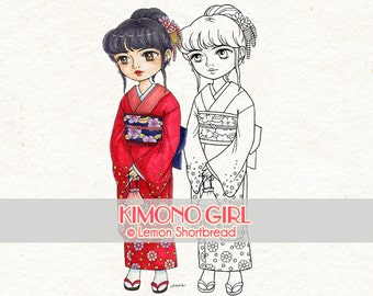 Digital Stamp Kimono Japanese Girl, Digi Download, Spring Summer, Sakura, Asian Graphic, Clip Art, Coloring Page, Scrapbooking Supplies