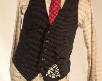 Men's Black Pinstripe Vest/Waistcoat / 38 Vintage Vest / Size 44 Large  // #4007