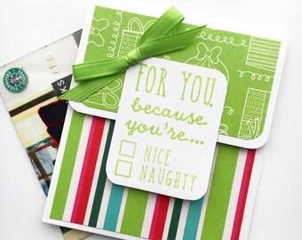 Christmas Gift Card Holder - Holiday Gift Card Holder, Holiday Tip Envelope, Money Card, Gift Card Sleeve, Naughty Nice