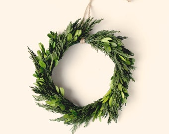 Natural home decor, Preserved wreath, Boxwood and cypress, Leaf wall hanging, Wedding mantle decoration, preserved greenery, Natural wedding