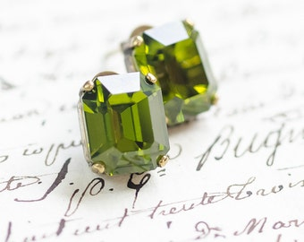 Peridot Crystal Stud Earrings - FREE SHIPPING