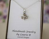 Bumblebee Charm Necklace, Friendship Gift, Sterling Silver, Bestie Gift, Bee Charm, Thank you card, Insect, Honey Bee, Layered