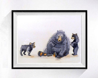 Bear Art Prints | Watercolor Prints | Forest animal watercolor prints |  Nursery art Kids Child's art prints babies room