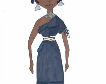 Hopi from Arizona & Colorado Girls Around The World series original ink illustration