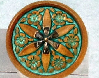 Czech Glass Star Flower Button, Matte Gold, Turquoise, 18mm, With Pendant Converter C553