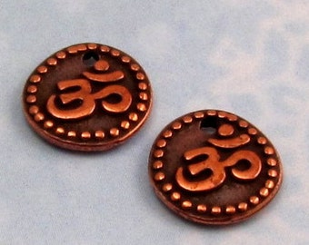 Small Om Coin Charm, Antique Copper, TierraCast, 2 Pc. TC47