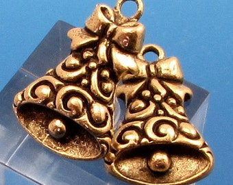 Bell Christmas Charm, Antique Gold, 2 Pieces,  AG278