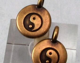Small Yin Yang Charm, Brass Ox, TierraCast 2-Pc. TB48
