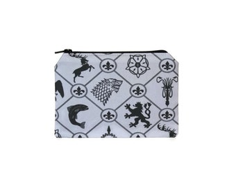 CHOOSE SIZE Game of Thrones Westeros Zipper Pouch / Game of Thrones House Sigil Bag / GoT Targaryen Baratheon Stark