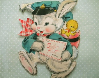 Large Vintage Flocked Easter Card Bunny Rabbit and Duckling Baby's First Easter