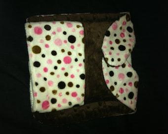 Baby Bib Set Pink & Chocolate Brown Polka Dots