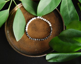 the stillness  bracelet / mala bracelet / labrodite / iridescent / howlite / cosmic / boho