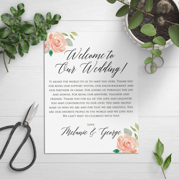 Thank You Letter For Wedding Gift Bags : ... Wedding Welcome Bag, Welcome Card, Wedding Favor, Wedding Thank You