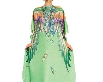 Wings Kaftan Dress, Kimono Robe, beach Coverup, Bridal Kimono, Boho Dress, Plus Size Clothing, Fantasy Art