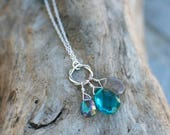 Multi Gemstone, Labradorite, Mystic Topaz, Teal Blue Quartz Gemstone Trio Necklace, Sterling Silver, Layering Necklace 18 inches