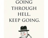 """Motivational Inspirational - Quote Quotes - Winston Churchill motivational quote 8.3"""" X 11.7"""" print"""