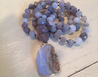 Agate Drusy Hand Knotted Mala Chalcedony Pendant Drop necklace