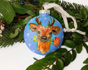 Hand painted Glass Ornament, Deer Head, Christmas Gift, Home Decor, Gift for Friend, Holiday Decorations