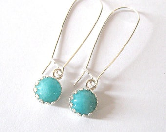 Amazonite Earrings, Cabochon Gemstones, Crown Setting Sterling Silver Filigree, Long Kidney Wires, Hooks, Posts or Leverbacks