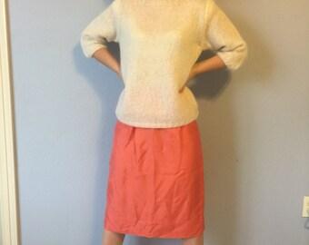 Vintage Skirt - Coral Raw Silk Handmade 1960s - Medium Small