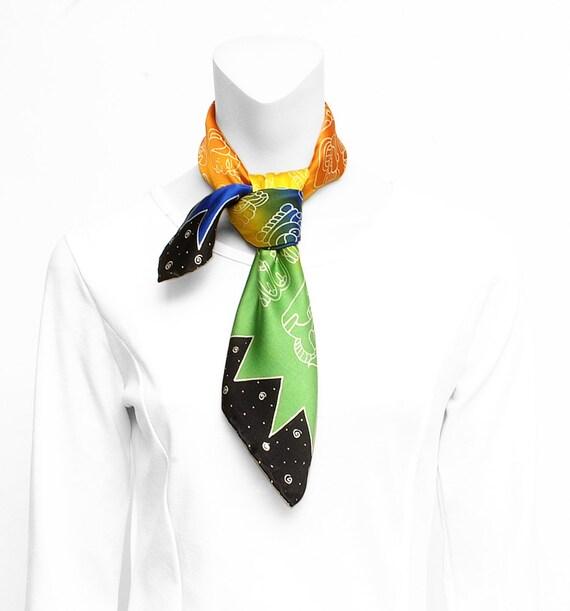 Silk Scarf Handprinted, Maya scarf, Glyphs scarf, Hand made, Silk square scarf, Colorful scarf, Luxury silk scarf, Unique scarf, Neck scarf