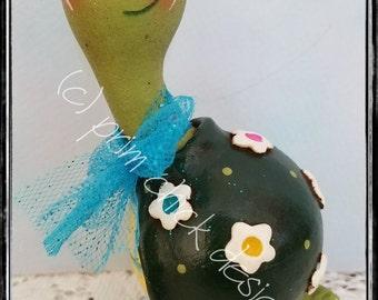 POSIE hp whimsical turtle gourd flowers daisy spring posies sculpted clay lisa robinson original prim chick designs ofg teamhaha