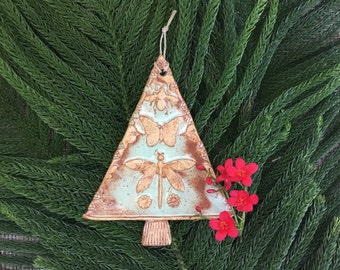 Handmade Ceramic Tree Ornament with Bee Butterfly Dragonfly and Flowers - Rustic Holiday Ornament - Green and Gold Xmas Ornament