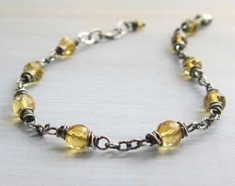 Citrine Bracelet, Citrine Jewelry, Sterling Silver Beaded Citrine Bracelet, Yoga Bracelet, November Birthstone, Solar Plexus Chakra Bracelet
