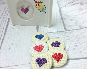 Cross Stitch Love Heart Pin Badge