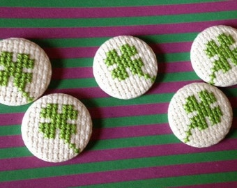 Lucky Four Leaf Clover Cross Stitch Pin Badge