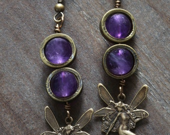 Steampunk Earrings - Natural Amethyst beads and woodland fairy charm