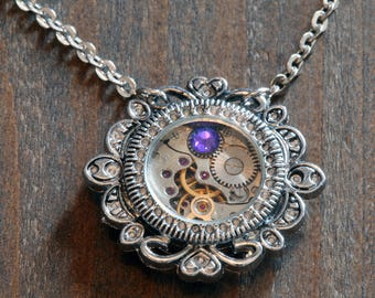 Steampunk Victorian - Necklace - Watch Movement and Heliotrope Crystal - Silver Tone