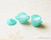 Dollhouse Miniature Turquoise Sugar Bowl and Milk Jar Set - Kitchen Accessories in 1/12 Scale