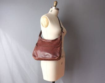 vintage leather purse / 70s brown leather handbag / shoulder bag