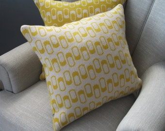 Mustard Lambswool Cushion / Pillow - Including Insert - yellow, cream, retro
