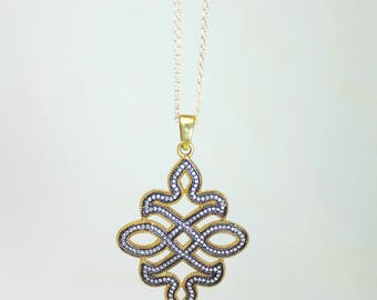 Black Pave Scroll Flourish Pendant