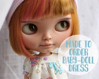 MADE TO ORDER - Blythe baby-doll style dress with puffy sleeves - doll clothes by icantdance