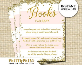 BOOKS For BABY, Baby Shower Book Request Card, Instant Download, Girl Baby  Shower