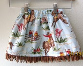 Little Girls Skirt Blue Cowboy Print with Fringe, Cowgirl Skirt, Toddler Skirt, Western Skirt, Girl Skirt, Horses Blue Skirt