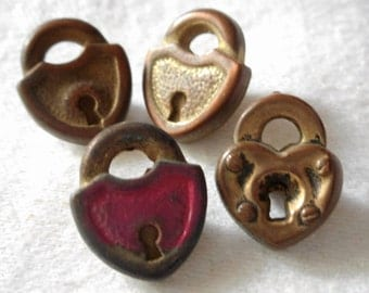 Lot of 4 VINTAGE Small Metalized Plastic Realistic Lock BUTTONS