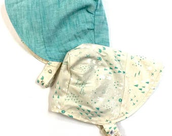 UB2 PITTER PATTER an aqua and sweet geo and animals shapes summer sun hat that's totally gender neutral, by Urban Baby Bonnets (all sizes)