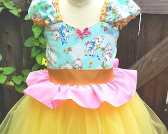 Easter dress, Romantic dress, Shabby chic dress, aqua dress, lambs, Spring dress, tutu dress, kawaii dress for girls dress, gold, 7/8