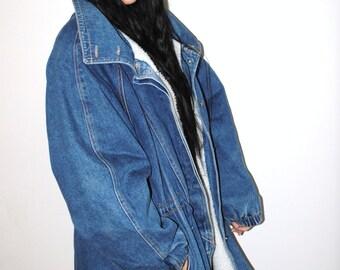 long denim jacket 80s vintage unisex cinched waist insulated winter jean jacket parka large