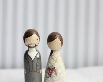 RUSH Cake Topper // Wedding Cake Topper // Peg Dolls // Wooden Cake Toppers // Custom Cake Toppers // Goose Grease // Wooden Dolls